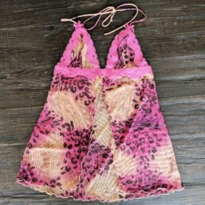 Victoria's Secret Nighty pink print Mesh, X Small